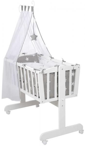 Roba Komplettwiege Babywiege Stubenwiege Little Stars Holz Weiß