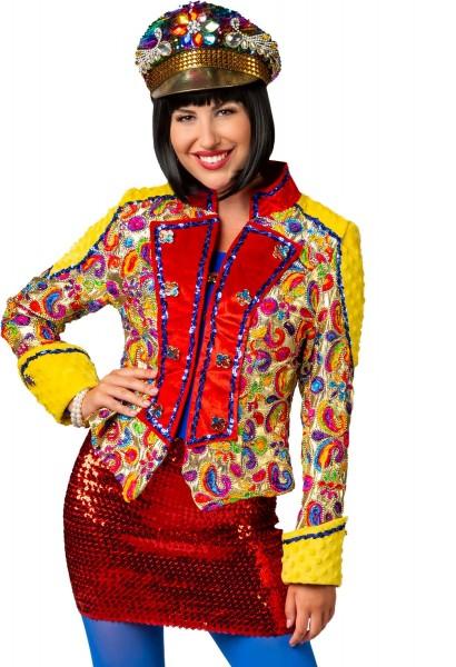 Jacke Minki Blazer bunt Paisleymuster Damen Karneval Fasching Kostüm 36-48