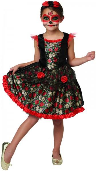 Red Rose Day of the Dead Horror Kinder Karneval Halloween Kostüm 116-146