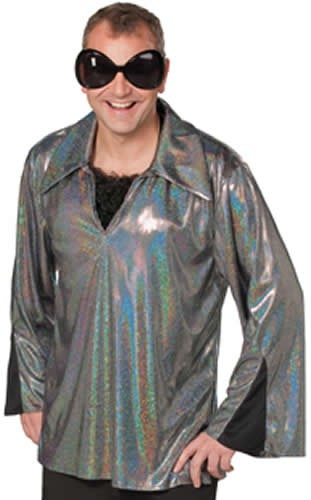 Discohemd Glitzerhemd 70er und 80er Jahre Party Karneval Kostüm 48-60