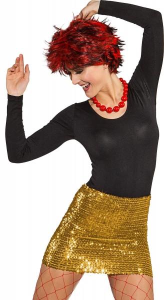 Pailletten Minirock/Top 2in1 gold sexy Rock T-Shirt Karneval Kostüm 32-42