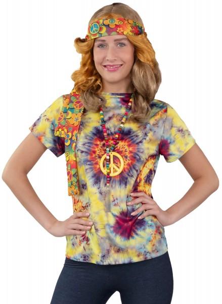 T-Shirt Batik Hippie Flower Power Woodstock Damen Karneval Kostüm S-XXXL